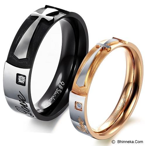 TITANIUM RING Cincin Couple Size 7(F) & 8(M) [GS261] - Gold & Black - Cincin